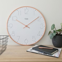 Ola SILENT SWEEP Wall Clock 50cm (copper) by Toki