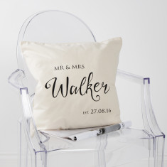 Personalised Mr And Mrs Established Cushion