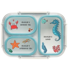 Personalised Bento Lunch Box - Under The Sea Seahorse (Blue)