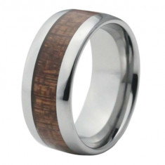 Silver domed tungsten ring with wood inlay