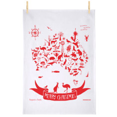 Australian Christmas map tea towel