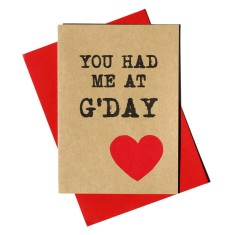 You had me at g'day handmade card