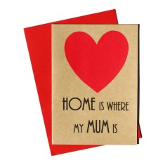 Home is where my mum is handmade mother's day card