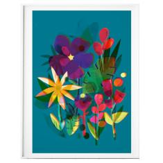 Wildflower On Teal Print