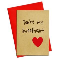 You're my sweetheart handmade love card