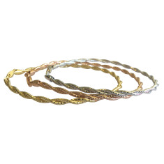 Two strand sterling silver omega bracelet in silver, gold and rose gold