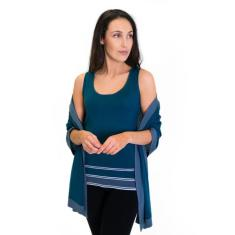 Silk Cashmere Scarf / Wrap Two Toned Teal