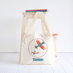 Planes personalised library bag