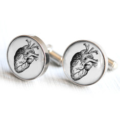 Anatomical heart cufflinks