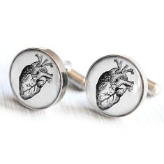 Anatomical heart cufflinks