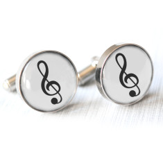 Musical treble clef cufflinks