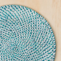 Rattan blue & white-washed placemats (set of six)