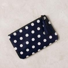 Claire clutch in polka dots navy