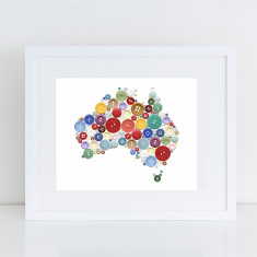 Aussie buttons map art print