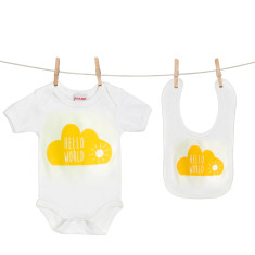 Hello world onesie and bib boxed gift set