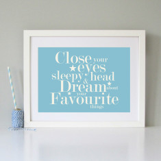 Modern children's bedroom/nursery wall art print (4 colours available)
