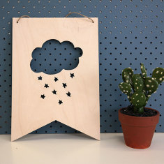 Clouds & star wooden wall plaque