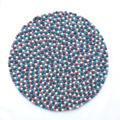 Felt ball rug (summer colours)
