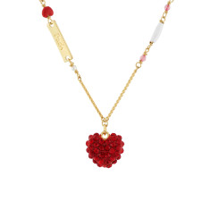 Sparkling red love heart and Paris Necklace