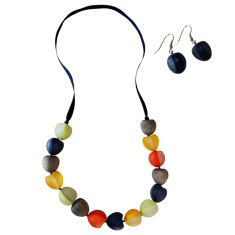 Sahara resin pod necklace + earrings matching set