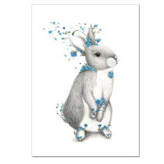 Bunny Blue Flowers Print