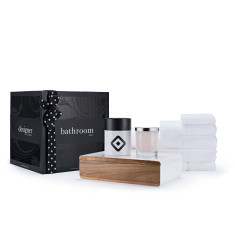 Luxurious towel set, jewellery box & soy wax candle bathroom gift box