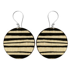 Black stripe disk earrings
