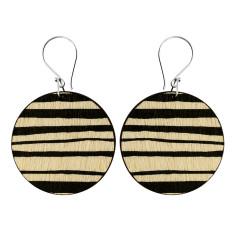 Black stripe disk earrings