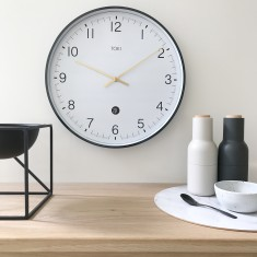 Mina White SILENT SWEEP Wall Clock with Date 40cm (Various Colours) By Toki