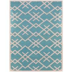 Turquoise handmade flat weave rug