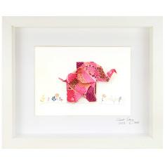 Happy Pink Elephant Framed Origami Artwork