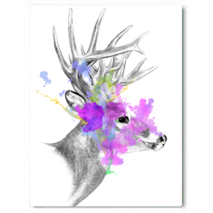 Blooming Stag Canvas Art