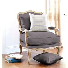 French Louis-style armchair in charcoal
