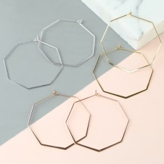 Delicate Octagonal Hoop Earrings