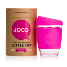 Pink reusable glass cup (12oz)