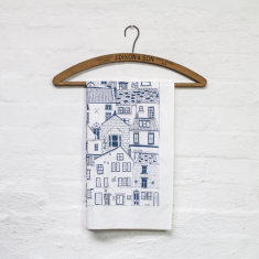 Jessica Hogarth coastal cottages tea towel in navy
