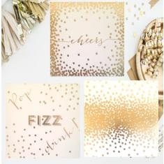 Set of 6 party disposable coasters in gold foil