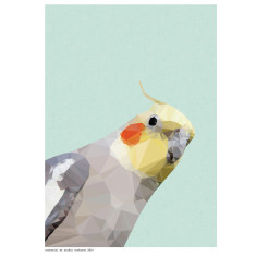 Geometric cockatiel art print