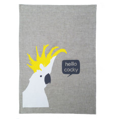 Cockatoo linen tea towel