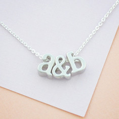 Personalised Initials & Heart or Ampersand Necklace in silver