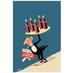 Coca Cola ski waiter vintage poster