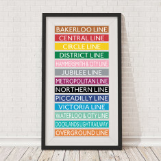 Coloured tube lines bus blind print