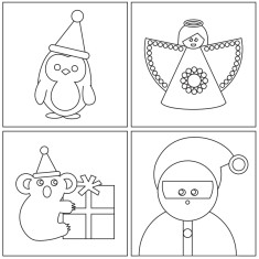 Christmas colour-in cards (pack of 4)