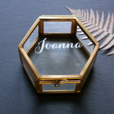 Personalised mini glass jewellery box with name