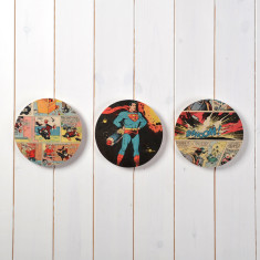 Three superhero comic circles wall art