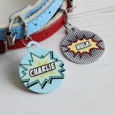 Personalised pet name ID tag comic book bauble