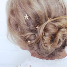Gold stars hair clips