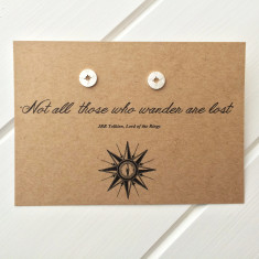 Not All Who Wander compass earrings