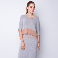 Wide boat neck crop top - terracotta