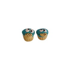 Cookie monster cupcake stud earrings